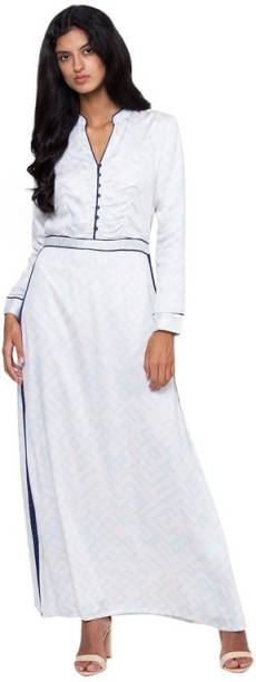 ROOTED Women Fit and Flare White Dress