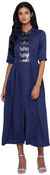 ROOTED Women Fit and Flare Blue Dress