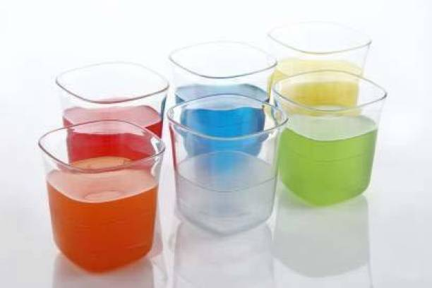 J M FASHION (Pack of 6) Platinum Water, Juice, Soft Drink Glass Glass Set