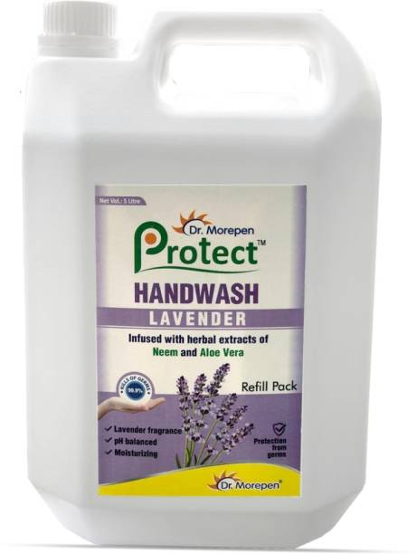 Dr. Morepen Protect Liquid Hand Wash 5 Liter With Neem, Aloe Vera & Lavender Fragrance Hand Wash Can