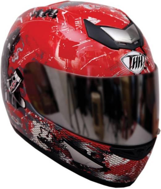 THH HELMETS TS-41 Bull Full Face Single Shield Helmet (Red, Glossy, Large) Motorbike Helmet