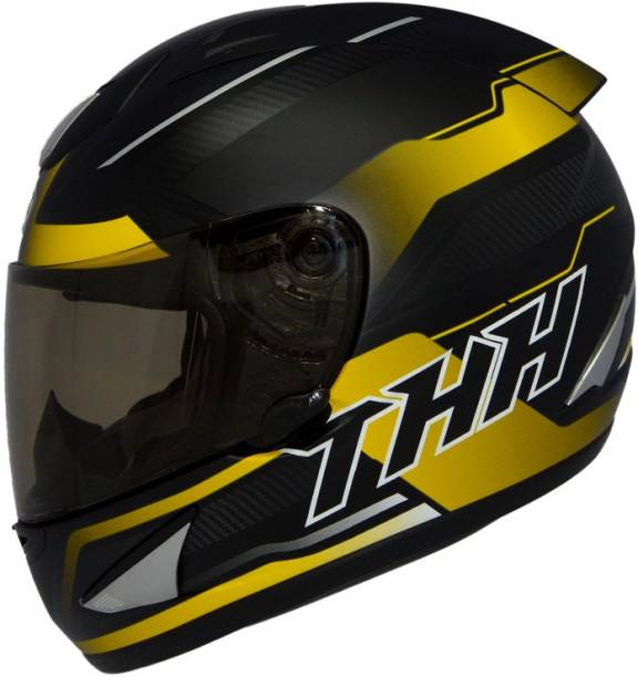 THH HELMETS TS-41 Arcade Full Face Single Shield Helmet (Black/Yellow, Matt, Large) Motorbike Helmet