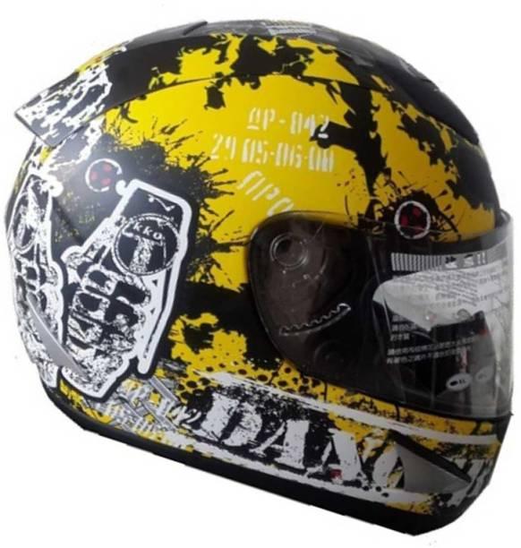 THH HELMETS TS-41 Destroy Full Face Single Shield Helmets (Black/Yellow, Glossy, Large) Motorbike Helmet