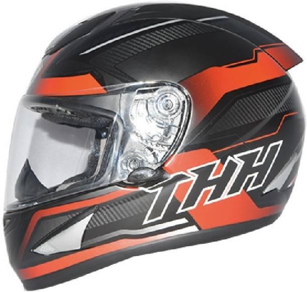 THH HELMETS TS-41 Arcade Full Face Single Shield Helmet (Black/Red, Matt, Large) Motorbike Helmet