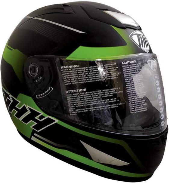 THH HELMETS TS-41 Arcade Full Face Single Shield Helmet (Black/Green, Matt, Large) Motorbike Helmet