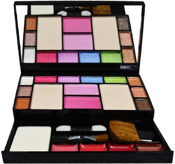 angelie Fashion Makeup Kit - 10 Eye Shadows Palette 4 Lip Colour 2 Compact Powders