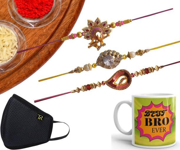 STYLE BADGE Designer Mask, Chawal Roli Pack, Rakhi, Mug  Set