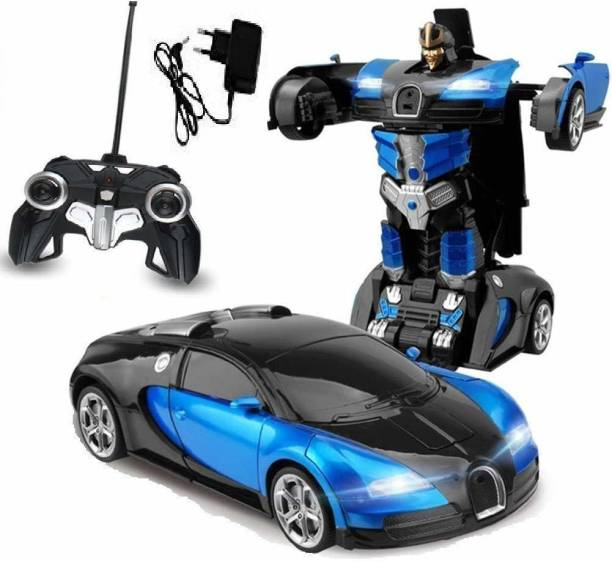 him tex Converting Car to Robot, Robot to Car with Light and Sound for Kids (Blue)