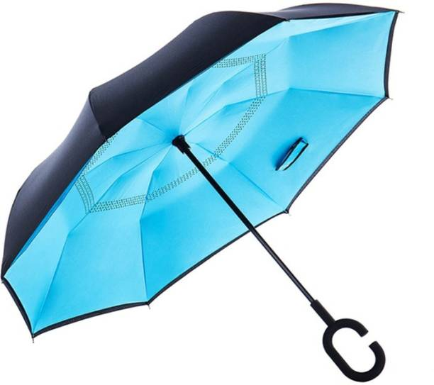 HAIYUN Double Layer Inside-Out Inverted Umbrella and Self Standing, Reverse Folding Umbrella with C-shaped Hands Free Handle(sky blue) Umbrella