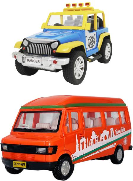 Giftary Pack Of 2 Small Size Indian Automobile Open Top Jeep Toy + Tourist Van Toy For Children|Playing Toys For Kids|Use As ShowPiece|(2 Combo Offer)