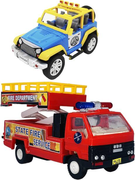 Giftary 2 Small Size Plastic Made Indian Miniature Model Ranger Jeep Toy + Fire Department Truck Toy For Children|Playing Toys For Kids|Use As Show Piece|(2 Combo Offer)