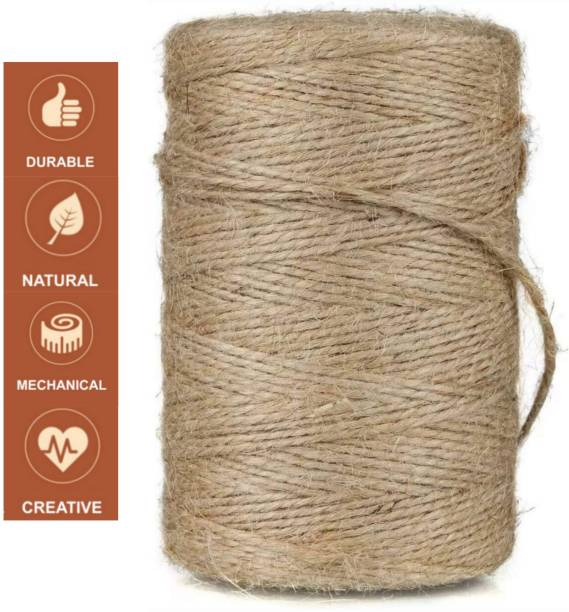 Anemone Jute Twine String 250 mtr 2 Ply Strong Thick Jute Rope 820 feet 2 Ply Thick and Strong for Craft and Grocery