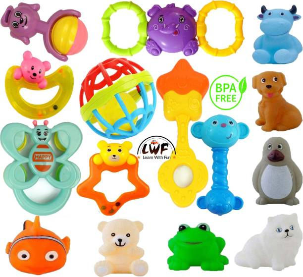 Learn With Fun 15 Pcs Set of Rattles and Animal Shape Toys Rattle Rattle