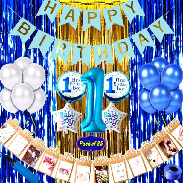 Shopperskart Baby boy first/1st happy birthday room/wall party decorations combo/kit pack blue color theme