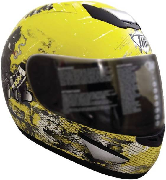 THH HELMETS TS-41 Bull Full Face Single Shield Helmet (Blue, Glossy, Large) Motorbike Helmet