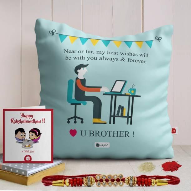 Indigifts Rakhi Gift Thread Cushion, Rakhi, Greeting Card  Set