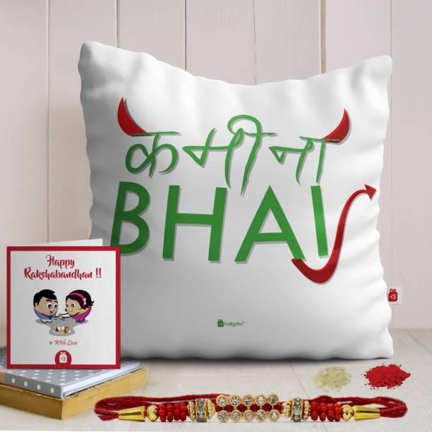 Indigifts Raksha Bandhan Gift Thread Cushion, Rakhi, Greeting Card  Set