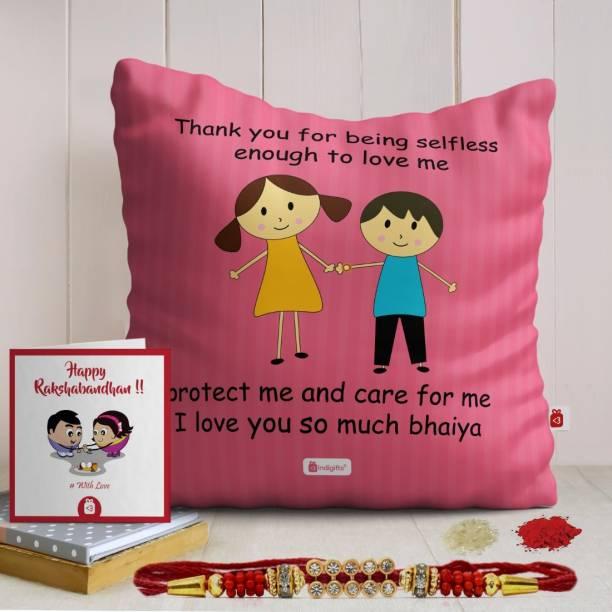 Indigifts Rakhi for Rakshabandhan Designer Cushion, Rakhi, Greeting Card  Set
