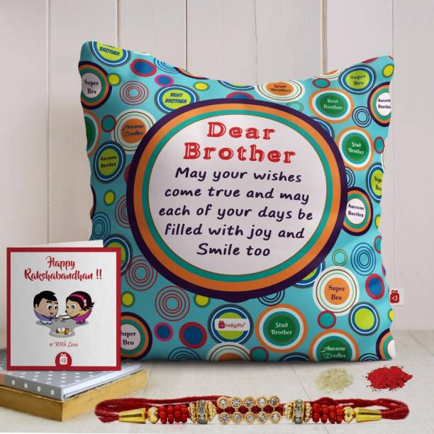 Indigifts Rakhi Gift Designer Cushion, Chawal Roli Pack, Rakhi, Greeting Card  Set