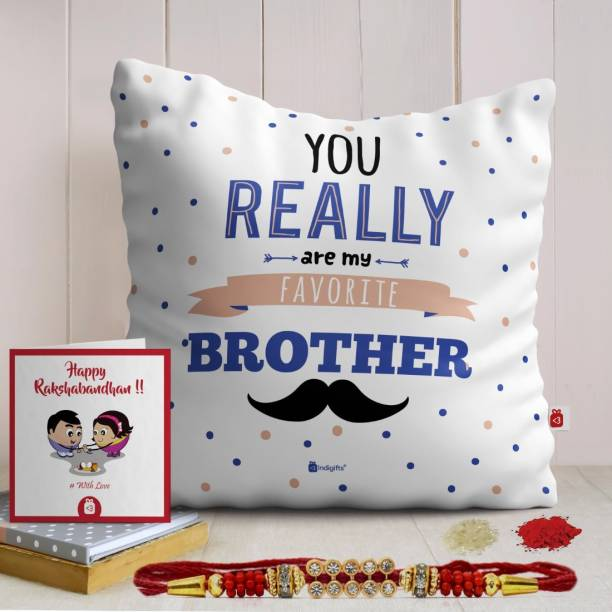 Indigifts Rakhi for Rakshabandhan Designer Cushion, Rakhi, Greeting Card  Set