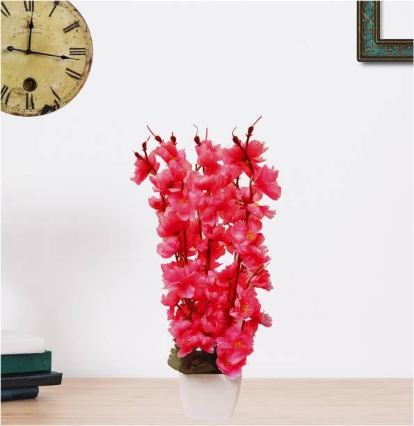 Flipkart Perfect Homes Blossom Orchid Bunch in Pot Red Orchids Artificial Flower  with Pot