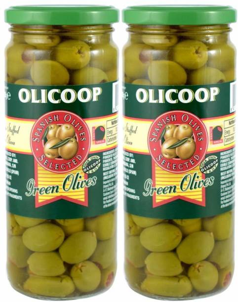 Olicoop Green Stuffed Olives, 450g, Pack of 2, Produced in Spain Olives