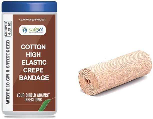 Carent Cotton High Elastic Crepe Bandage 10 cm (width) x4.5 m (Length) Pack of 1 Crepe Bandage