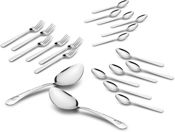 Classic Essentials Stainless Steel Silverware Flatware Cutlery Set,Stainless Steel Utensil Service 4,Include Dinner Spoon/Baby Spoon/Fork/Serving Spoon.Mirror Polished, and Dishwasher Safe Stainless Steel Cutlery Set
