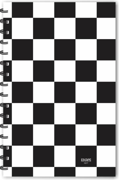 ESCAPER Black Big Checks Chess Pattern Designer Diary A5 Notebook Ruled 160 Pages