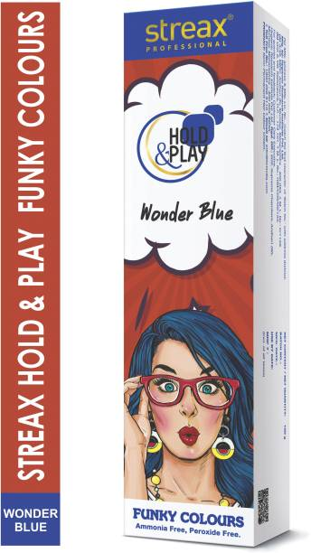 Streax Professional Hold & Play Funky Hair Colour Wonder Blue 100gm , Mehendi