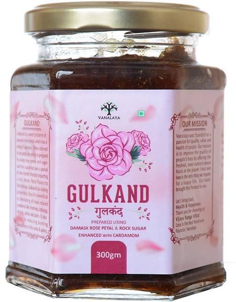 Vanalaya Natural Organic Gulkand Prepared Using Damask Rose Enhanced with Cardamon 300 g