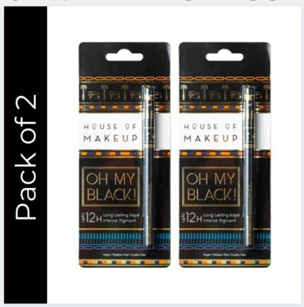 HOUSE OF MAKEUP Oh My Black Waterproof and Smudge-free Black Kajal (Pack of 2)
