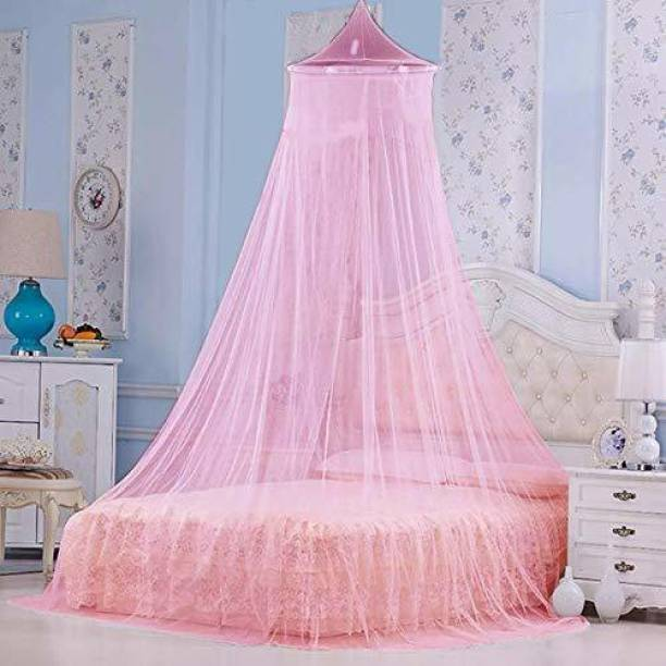 PANKSHRI ENTERPRISE Polyester Kids Polyster Round Ceiling Mosquito Net(Double Bed,6.5 * 6.5 ft) Mosquito Net