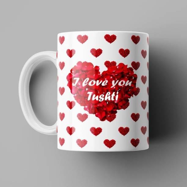 Beautum I Love You Tushti Romantic Name Ceramic White Coffee (350)ml Model No: BILU022392 Ceramic Coffee Mug