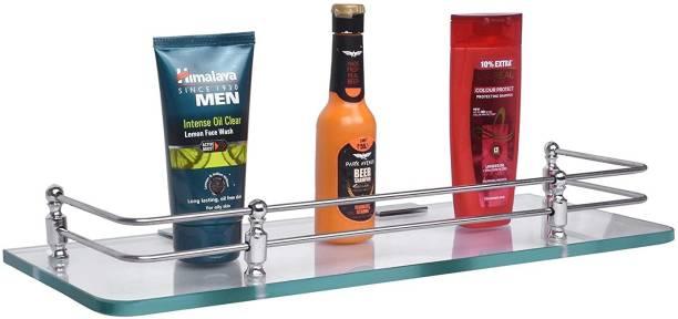 Plantex Premium Transparent Glass Shelf for Bathroom/Wall Shelf/Storage Shelf(12x6 Inches) Glass Wall Shelf