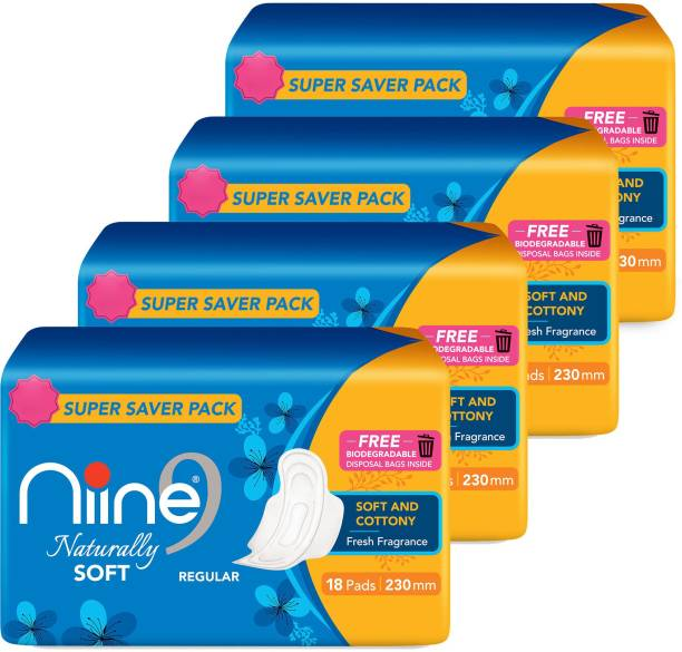 niine Naturally Soft Regular SUPER SAVER PACK Sanitary Napkins for women, With Biodegradable disposable bags inside, (Pack of 4), 72 Pads Count Sanitary Pad