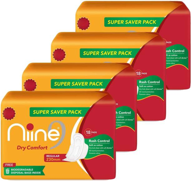 niine Dry Comfort Regular SUPER SAVER PACK Sanitary Napkins for women, With Biodegradable disposable bags inside, (Pack of 4), 72 Pads Count Sanitary Pad