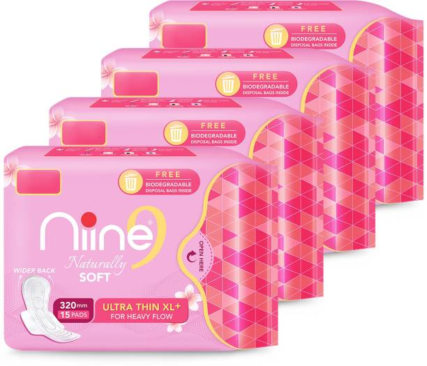 niine Naturally Soft Ultra Thin XL+ SUPER SAVER PACK, Sanitary Napkins with Free Biodegradable Disposal Bags Inside (Pack of 4), 60 Pads Count Sanitary Pad