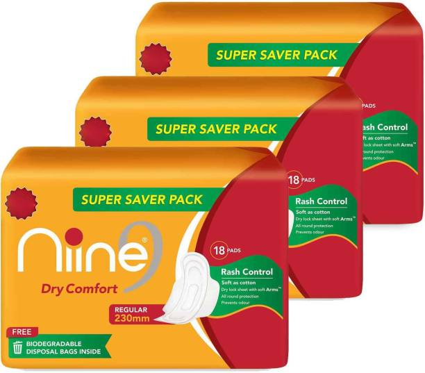 niine Dry Comfort Regular SUPER SAVER PACK Sanitary Napkins for women, With Biodegradable disposable bags inside, (Pack of 3), 54 Pads Count Sanitary Pad