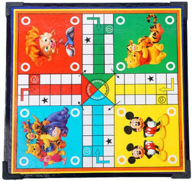 tryviz Wooden Multicolor Ludo Board 12x12 Inches with Free Dice & Tokens Roller, Snakes & Ladders (2 in 1 Games) Board Game Accessories Board Game