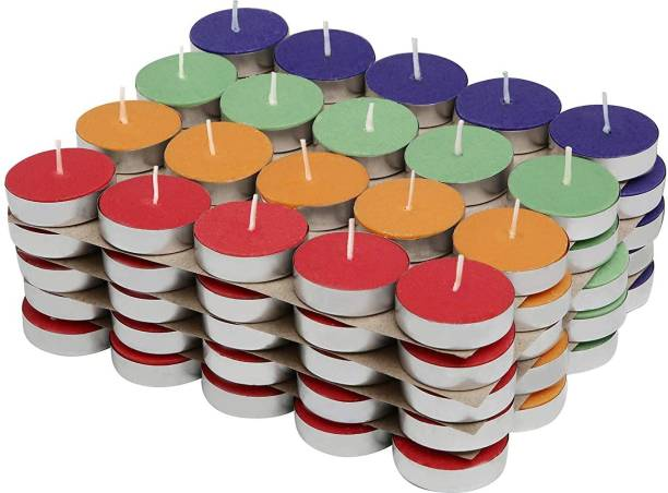 Manogyam 100 UNCENTED TEA LIGHT MULTICOLOUR Candle