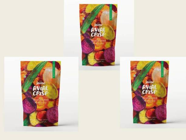 jacme Vacuum Fried Avial (Mixed Vegetable) Chips |Pack of 3 | 37 g Each | Mixed Okra, Sweet potato, Beetroot,Carrot, Tapioca Chips | Healthy, Tasty and Delicious Chips