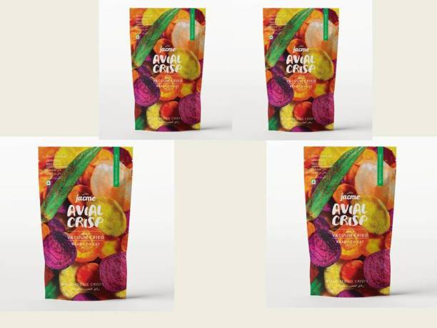 jacme Vacuum Fried Avial (Mixed Vegetable) Chips |Pack of 4 | 37 g Each | Mixed Okra, Sweet potato, Beetroot,Carrot, Tapioca Chips | Healthy, Tasty and Delicious Chips