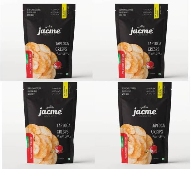 jacme Vacuum Fried Tapioca Chips | Pack of 4 | 60 g Each | Healthy, Tasty and Delicious Chips