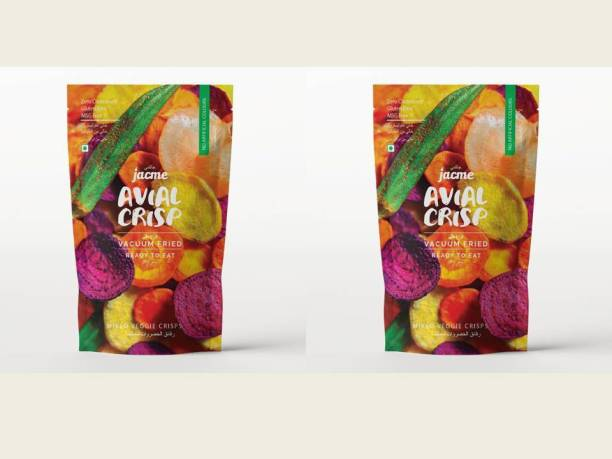jacme Vacuum Fried Avial (Mixed Vegetable) Chips |Pack of 2 | 37 g Each | Mixed Okra, Sweet potato, Beetroot,Carrot, Tapioca Chips | Healthy, Tasty and Delicious Chips
