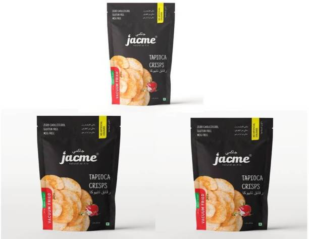 jacme Vacuum Fried Tapioca Chips | Pack of 3 | 60 g Each | Healthy, Tasty and Delicious Chips