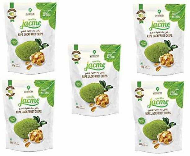 jacme Vacuum Fried Kerala Ripe Jackfruit Chips | Pack of 5 | 100 g Each | Healthy, Tasty and Delicious Chips
