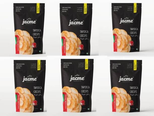 jacme Vacuum Fried Tapioca Chips | Pack of 6 | 60 g Each | Healthy, Tasty and Delicious Chips