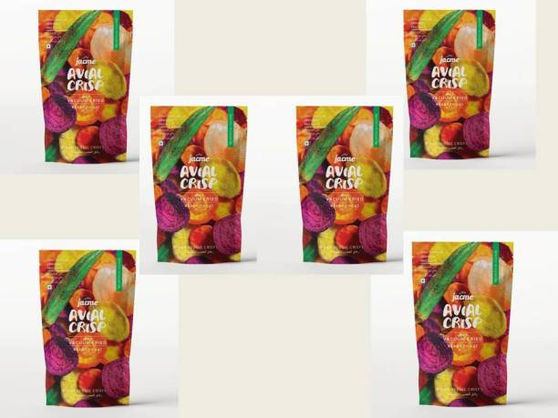 jacme Vacuum Fried Avial (Mixed Vegetable) Chips |Pack of 6 | 37 g Each | Mixed Okra, Sweet potato, Beetroot,Carrot, Tapioca Chips | Healthy, Tasty and Delicious Chips