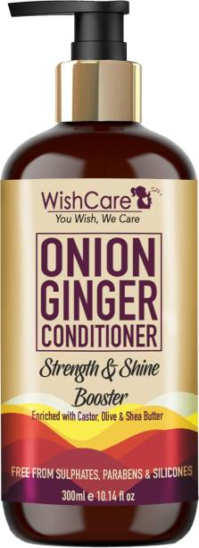 WishCare Onion Ginger Conditioner - Strength & Shine Booster - No Parabens, Sulphates & Silicones